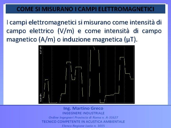 COME SI MISURANO I CAMPI ELETTROMAGNETICI I campi elettromagnetici si misurano come intensità di