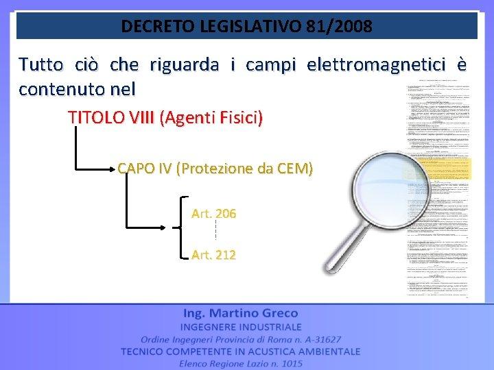 DECRETO LEGISLATIVO 81/2008 Tutto ciò che riguarda i campi elettromagnetici è contenuto nel TITOLO