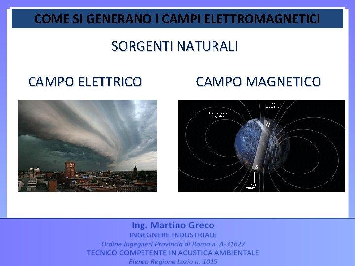 COME SI GENERANO I CAMPI ELETTROMAGNETICI SORGENTI NATURALI CAMPO ELETTRICO CAMPO MAGNETICO