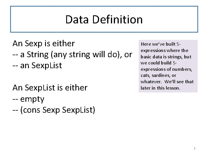 Data Definition An Sexp is either -- a String (any string will do), or
