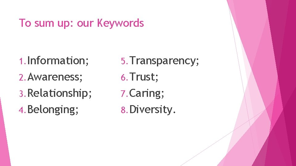 To sum up: our Keywords 1. Information; 5. Transparency; 2. Awareness; 6. Trust; 3.