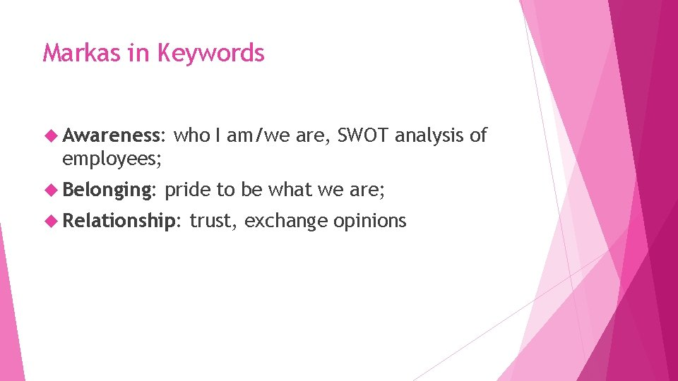 Markas in Keywords Awareness: who I am/we are, SWOT analysis of employees; Belonging: pride