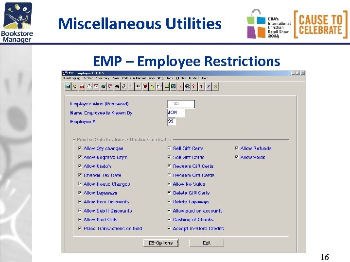 Miscellaneous Utilities EMP – Employee Restrictions 16