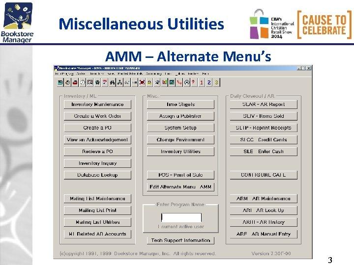 Miscellaneous Utilities AMM – Alternate Menu's 3
