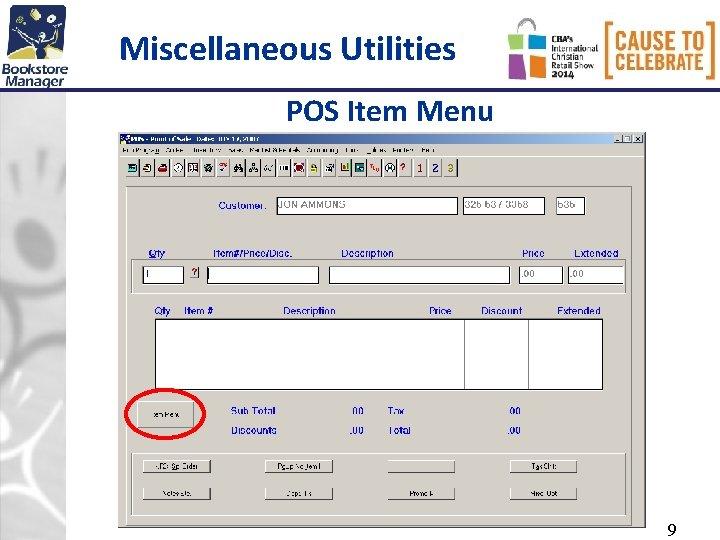 Miscellaneous Utilities POS Item Menu 9