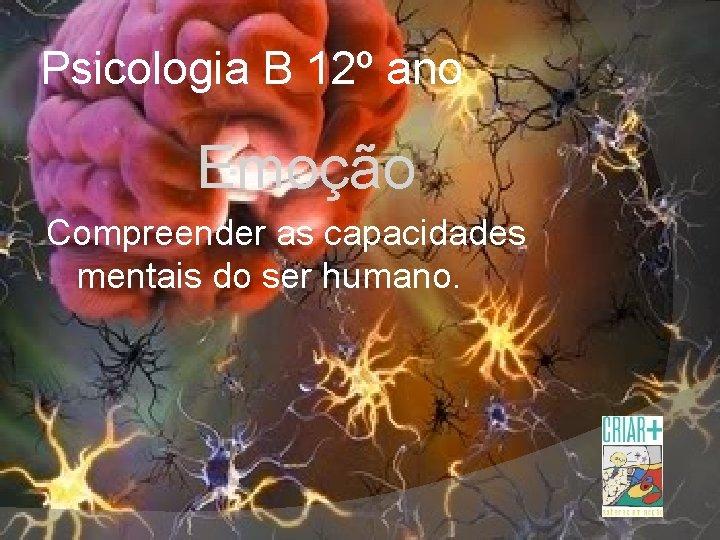 Psicologia B 12º ano Emoção Compreender as capacidades mentais do ser humano.