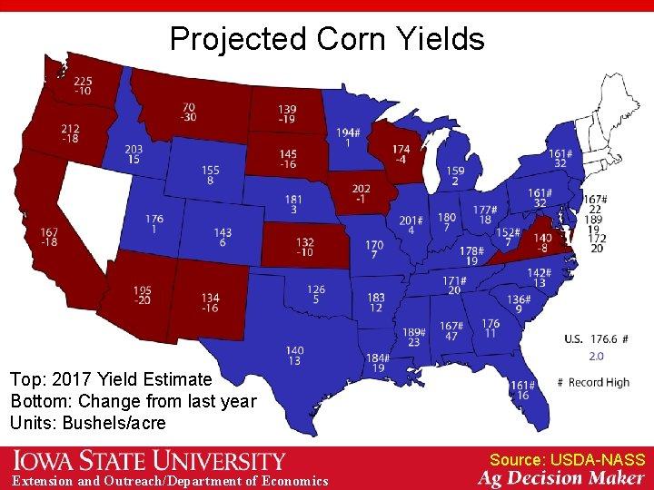 Projected Corn Yields Top: 2017 Yield Estimate Bottom: Change from last year Units: Bushels/acre
