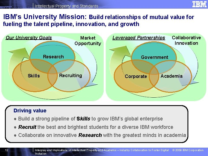 Intellectual Property and Standards IBM's University Mission: Build relationships of mutual value for fueling