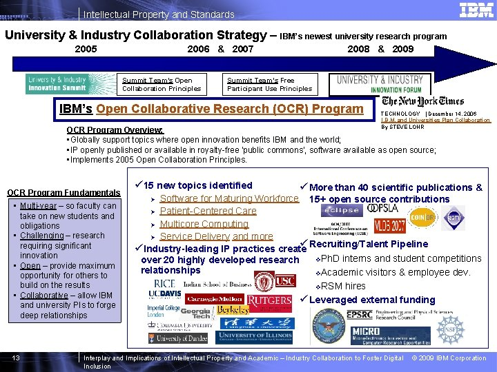 Intellectual Property and Standards University & Industry Collaboration Strategy – IBM's newest university research