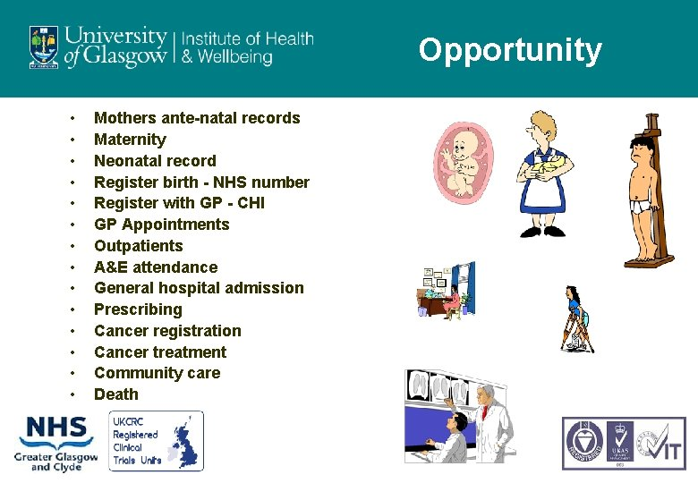 Opportunity • • • • Mothers ante-natal records Maternity Neonatal record Register birth -