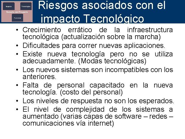 Riesgos asociados con el impacto Tecnológico • Crecimiento errático de la infraestructura tecnológica (actualización