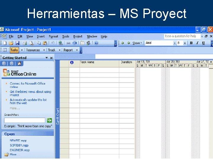 Herramientas – MS Proyect