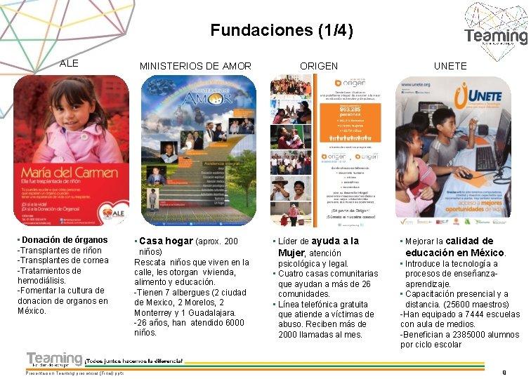 Fundaciones (1/4) ALE • Donación de órganos -Transplantes de riñon -Transplantes de cornea -Tratamientos