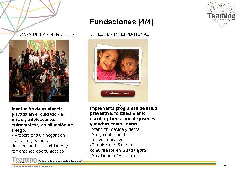 Fundaciones (4/4) CASA DE LAS MERCEDES CHILDREN INTERNATIONAL • . Institución de asistencia privada