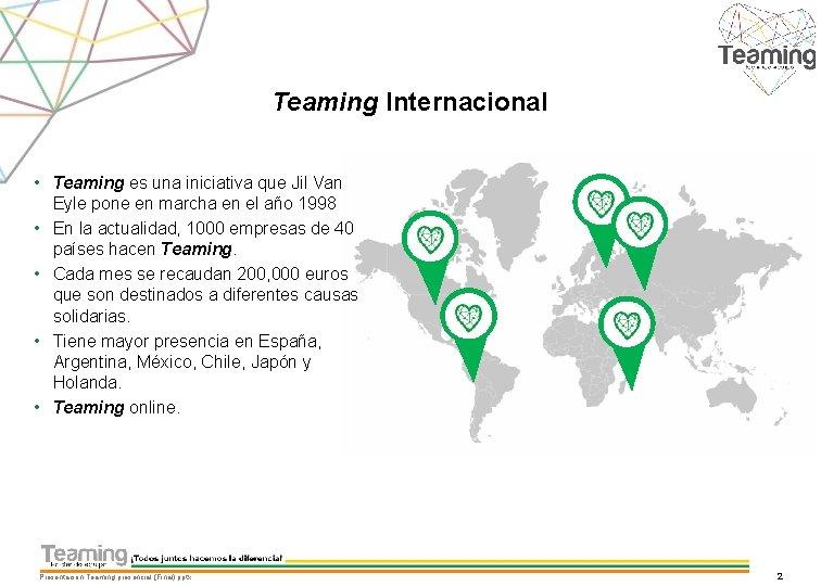 Teaming Internacional • Teaming es una iniciativa que Jil Van Eyle pone en marcha
