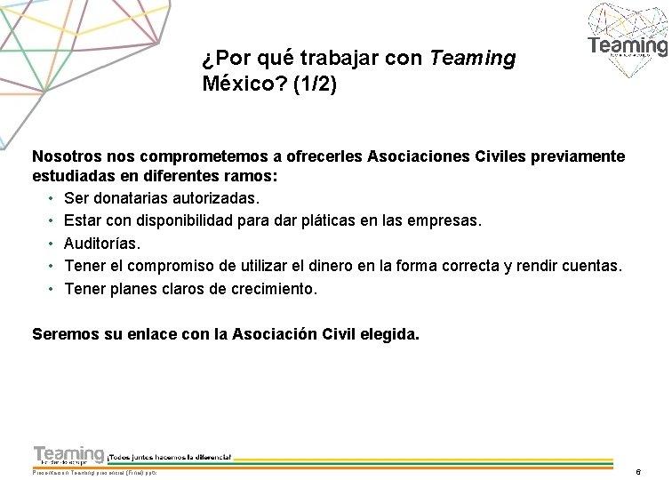 ¿Por qué trabajar con Teaming México? (1/2) Nosotros nos comprometemos a ofrecerles Asociaciones Civiles