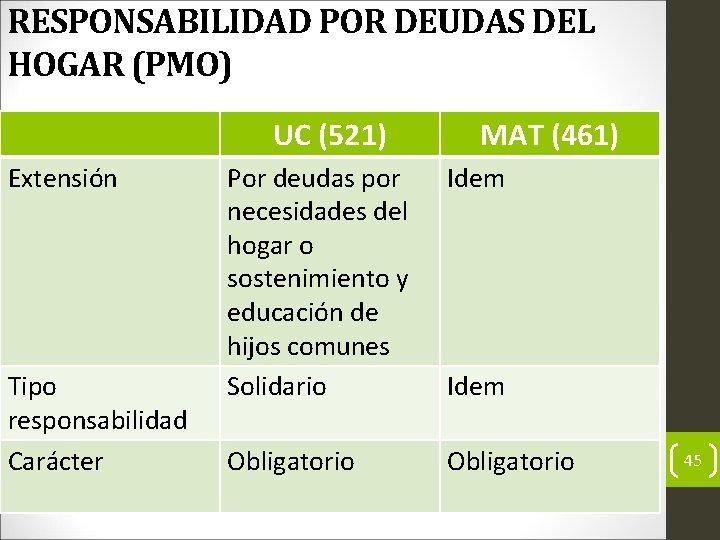 RESPONSABILIDAD POR DEUDAS DEL HOGAR (PMO) UC (521) Extensión Tipo responsabilidad Carácter MAT (461)