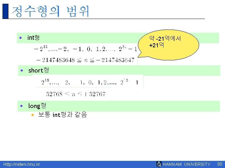 정수형의 범위 · int형 약 -21억에서 +21억 · short형 · long형 · 보통 int형과