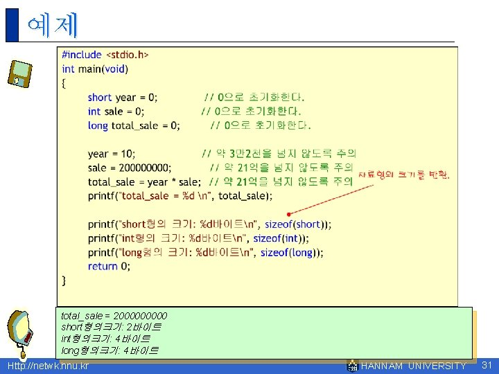 예제 total_sale = 200000 short형의크기: 2바이트 int형의크기: 4바이트 long형의크기: 4바이트 Http: //netwk. hnu. kr