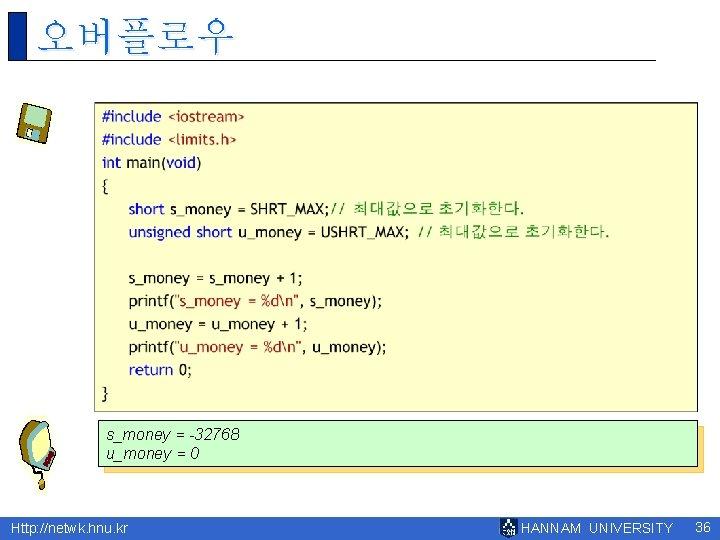 오버플로우 s_money = -32768 u_money = 0 Http: //netwk. hnu. kr HANNAM UNIVERSITY 36