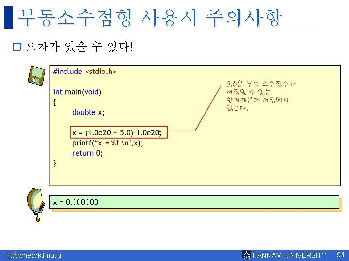 부동소수점형 사용시 주의사항 r 오차가 있을 수 있다! x = 0. 000000 Http: //netwk.