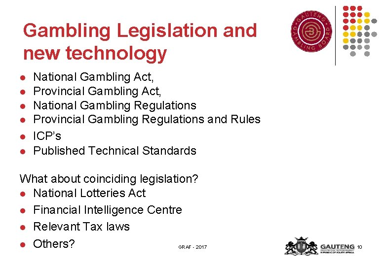 Gambling Legislation and new technology l l l National Gambling Act, Provincial Gambling Act,