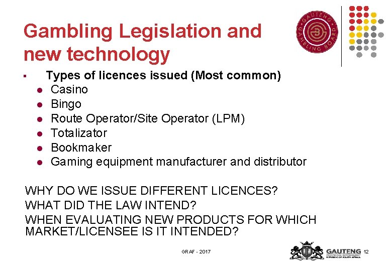 Gambling Legislation and new technology § Types of licences issued (Most common) l Casino