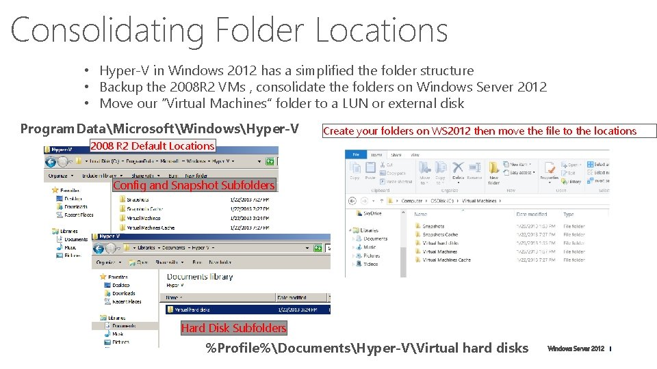 Consolidating Folder Locations • Hyper-V in Windows 2012 has a simplified the folder structure