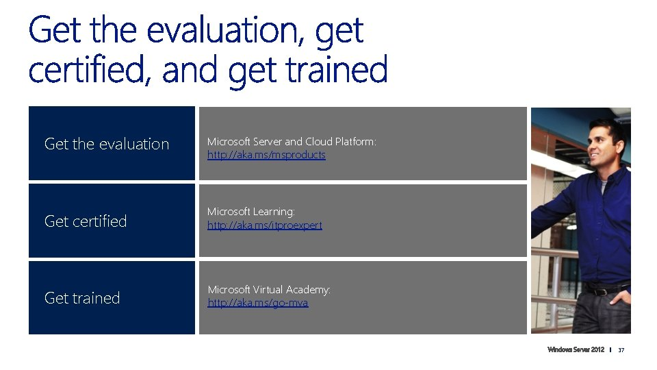 Get the evaluation Microsoft Server and Cloud Platform: http: //aka. ms/msproducts Get certified Microsoft