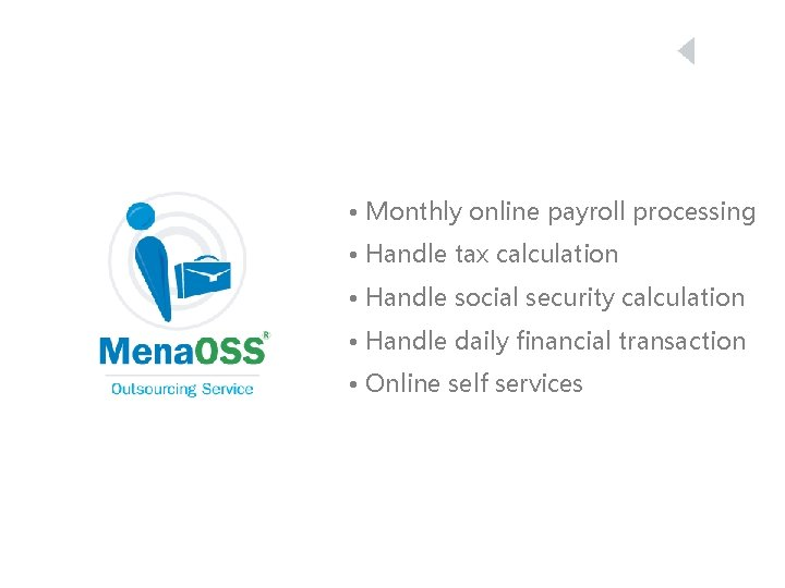 • Monthly online payroll processing • Handle tax calculation • Handle social security