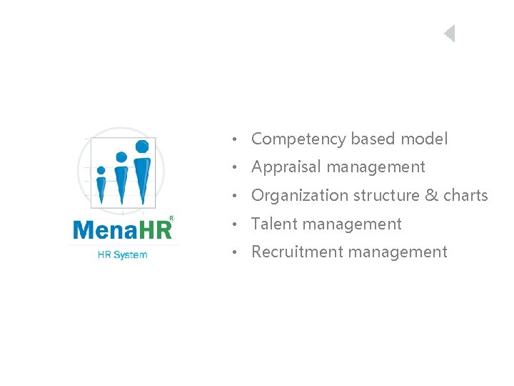 • Competency based model • Appraisal management • Organization structure & charts •