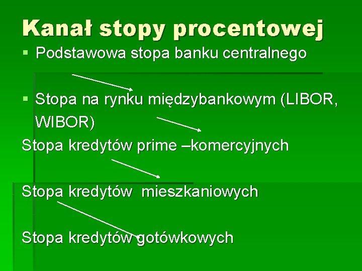 Kanał stopy procentowej § Podstawowa stopa banku centralnego § Stopa na rynku międzybankowym (LIBOR,