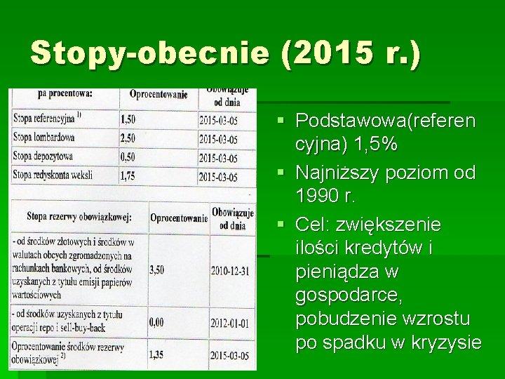 Stopy-obecnie (2015 r. ) § Podstawowa(referen cyjna) 1, 5% § Najniższy poziom od 1990