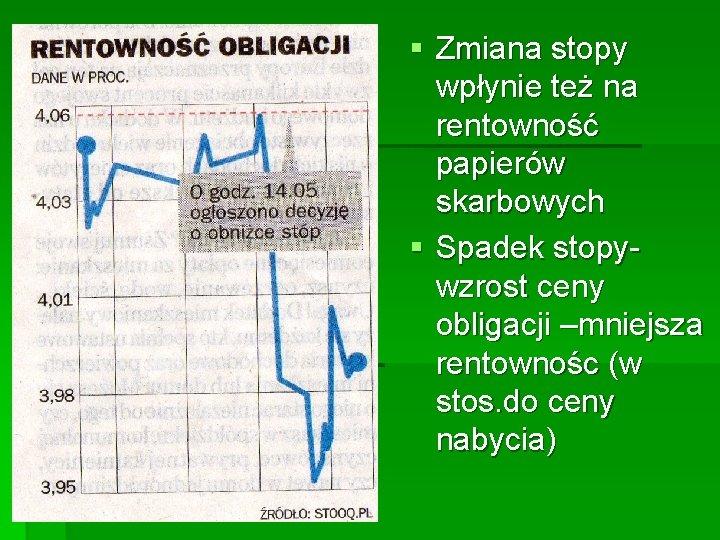 § Zmiana stopy wpłynie też na rentowność papierów skarbowych § Spadek stopywzrost ceny obligacji
