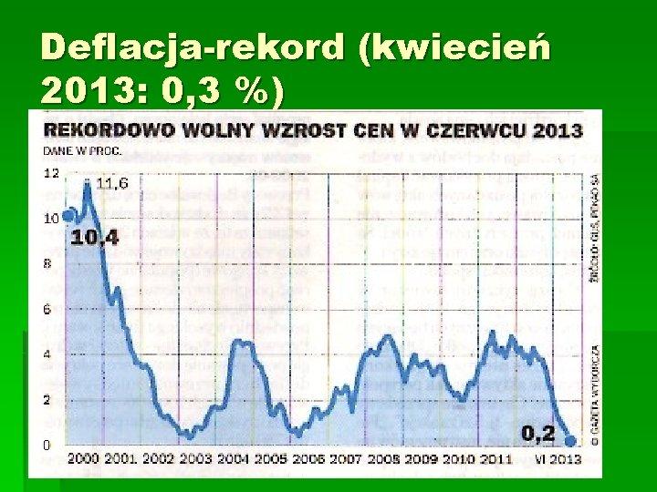 Deflacja-rekord (kwiecień 2013: 0, 3 %)