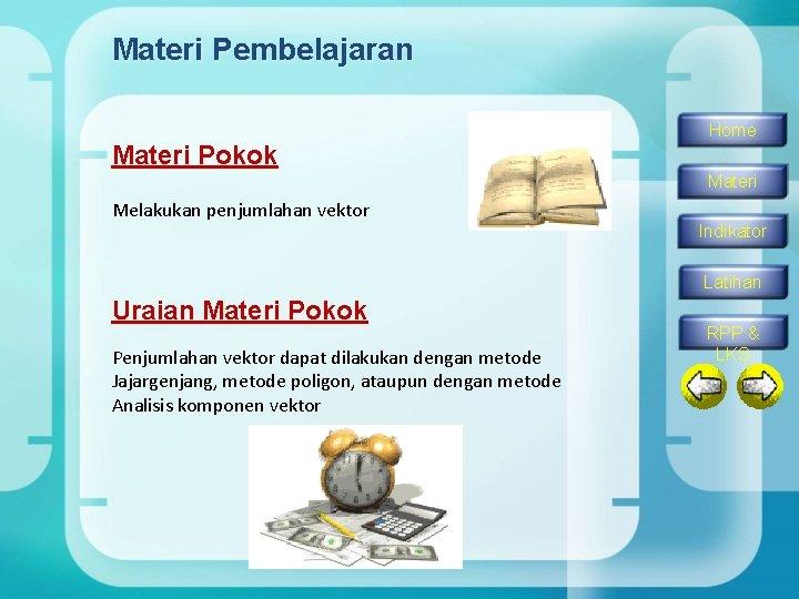 Materi Pembelajaran Materi Pokok Home Materi Melakukan penjumlahan vektor Indikator Latihan Uraian Materi Pokok