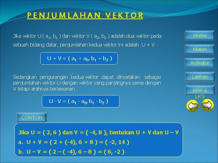 PENJUMLAHAN VEKTOR Jika vektor U ( a 1, b 1 ) dan vektor V