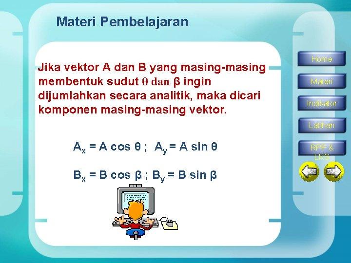 Materi Pembelajaran Jika vektor A dan B yang masing-masing membentuk sudut θ dan β