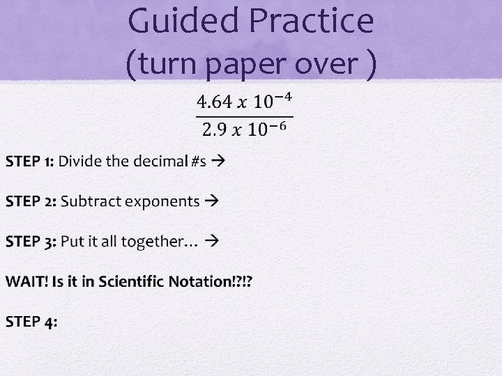 Guided Practice (turn paper over )