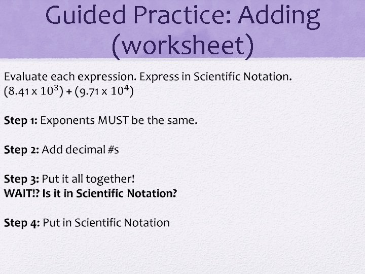 Guided Practice: Adding (worksheet)