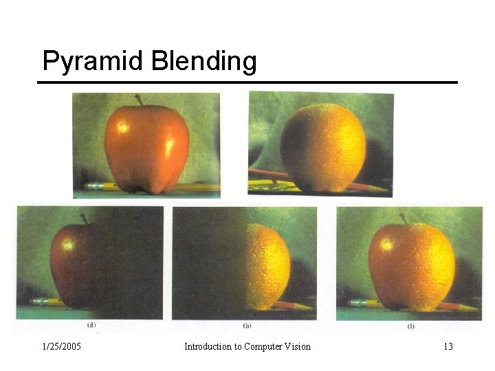 Pyramid Blending 1/25/2005 Introduction to Computer Vision 13