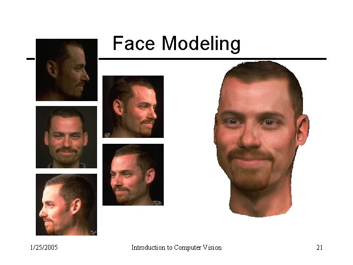 Face Modeling 1/25/2005 Introduction to Computer Vision 21