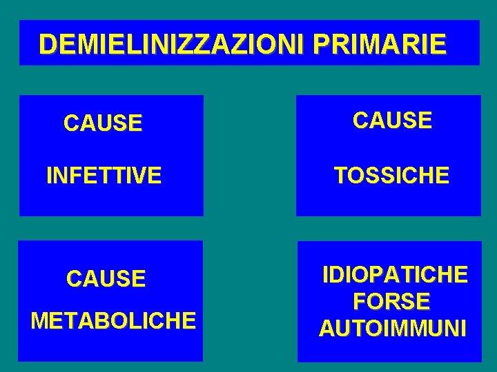 DEMIELINIZZAZIONI PRIMARIE CAUSE INFETTIVE TOSSICHE CAUSE IDIOPATICHE FORSE AUTOIMMUNI METABOLICHE