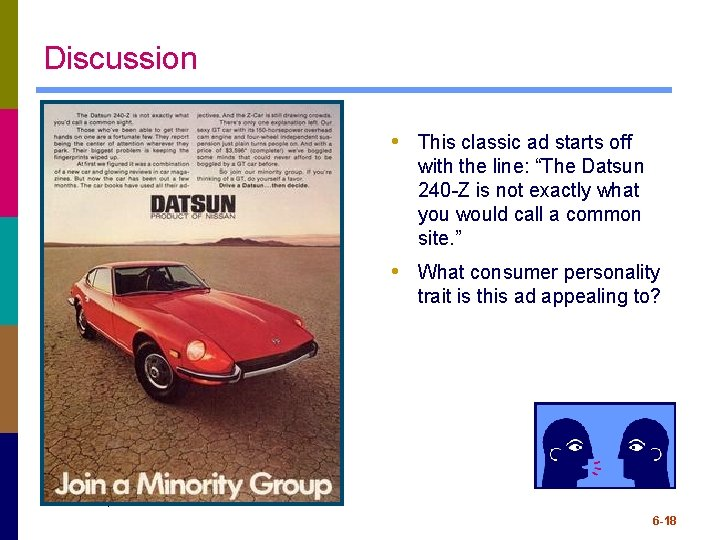 "Discussion • This classic ad starts off with the line: ""The Datsun 240 -Z"