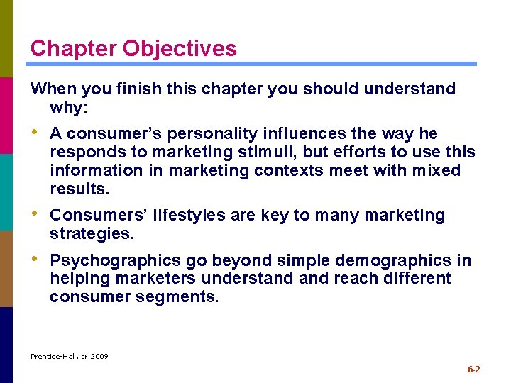 Chapter Objectives When you finish this chapter you should understand why: • A consumer's