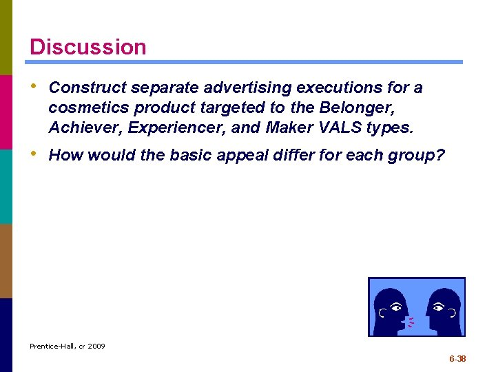 Discussion • Construct separate advertising executions for a cosmetics product targeted to the Belonger,