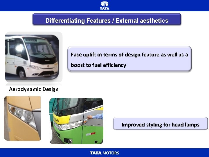 Differentiating Features / External aesthetics Face uplift in terms of design feature as well