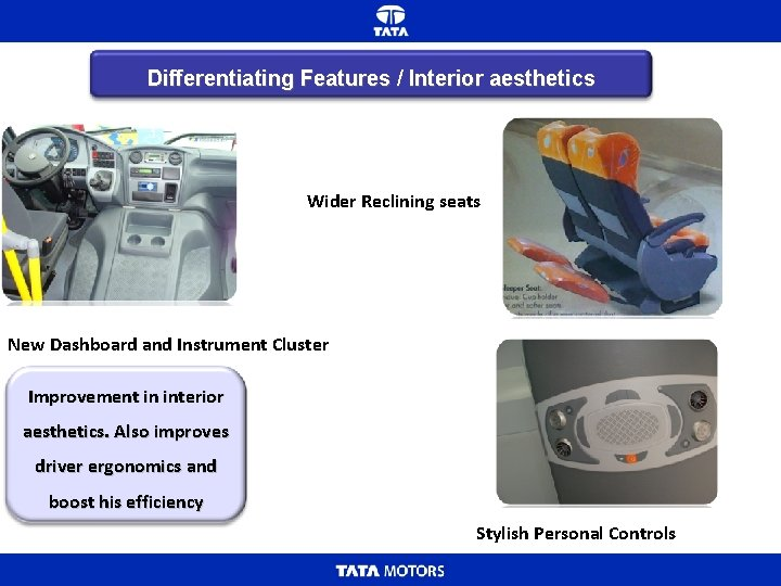 Differentiating Features / Interior aesthetics Wider Reclining seats New Dashboard and Instrument Cluster Improvement