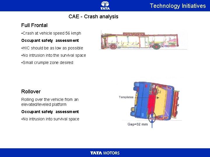 Technology Initiatives CAE - Crash analysis Full Frontal • Crash at vehicle speed 56