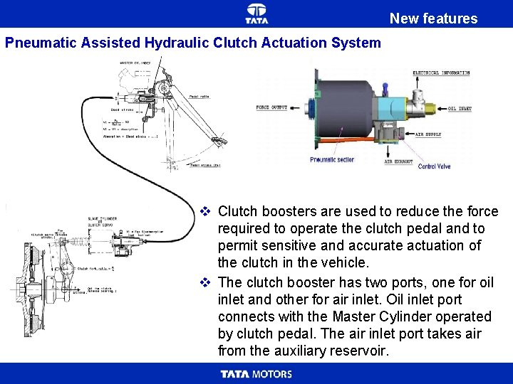 New features Pneumatic Assisted Hydraulic Clutch Actuation System v Clutch boosters are used to